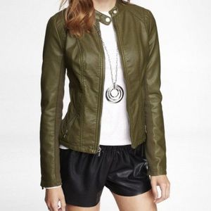 Green leather look jacket